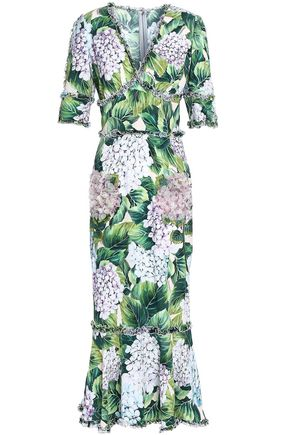 DOLCE & GABBANA Ruffle-trimmed floral-print crepe midi dress