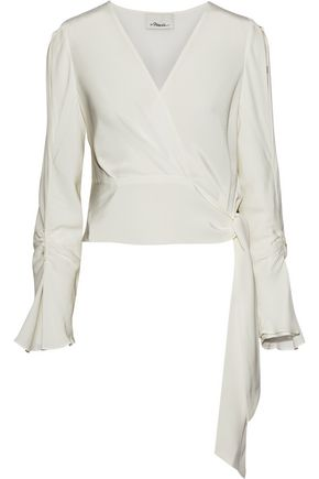 3.1 PHILLIP LIM Ruched washed-silk wrap top