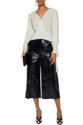 3.1 PHILLIP LIM Wrap-effect ruched silk crepe de chine blouse