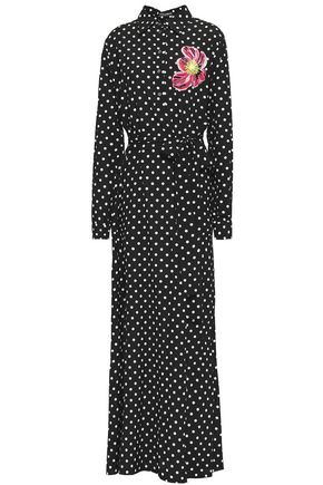 DOLCE & GABBANA Appliquéd polka-dot stretch-silk maxi shirt dress