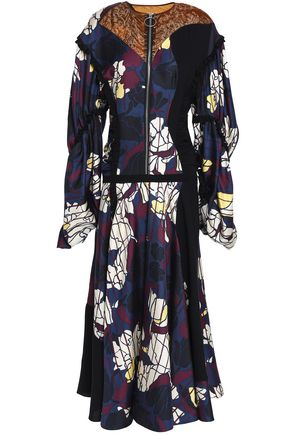 ROKSANDA Ruffled paneled printed silk-blend twill dress