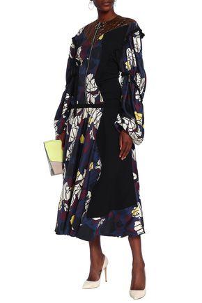 ROKSANDA Ruffled paneled printed silk-blend twill dress