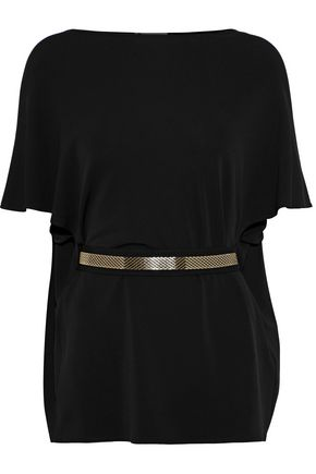 LANVIN Belted stretch-knit tunic