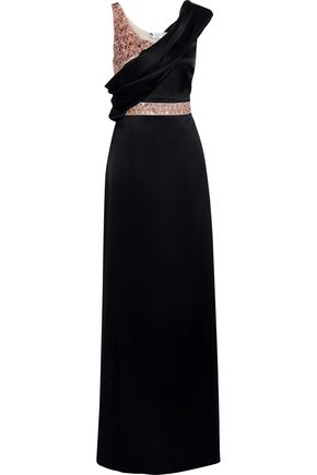 LANVIN Draped sequined satin gown