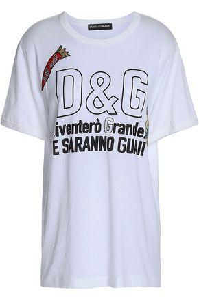 DOLCE & GABBANA Appliquéd printed cotton-jersey T-shirt