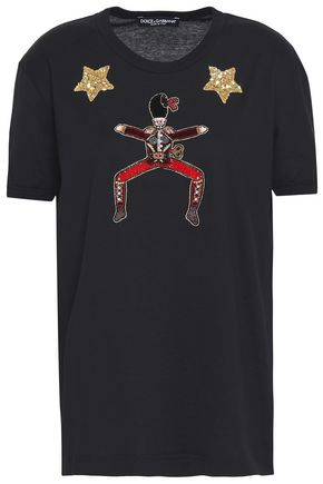 DOLCE & GABBANA Embellished appliquéd cotton-jersey T-shirt