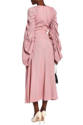 ROKSANDA Ruched woven midi dress