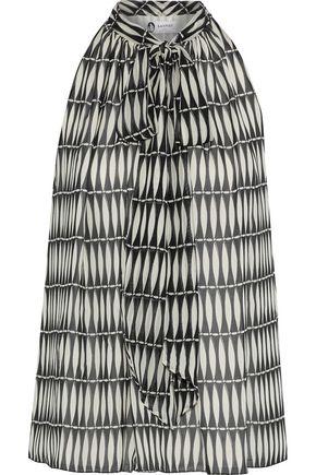LANVIN Pussy-bow printed silk-chiffon top