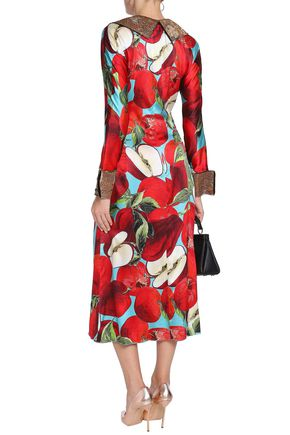 DOLCE & GABBANA Brocade-trimmed floral-print silk-blend satin midi dress