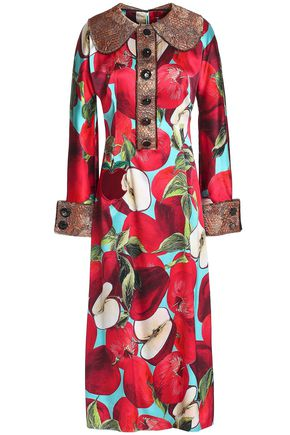 DOLCE & GABBANA Brocade-trimmed floral-print silk-blend satin midi dress