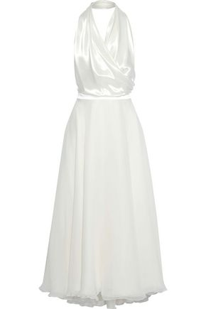 LANVIN Satin-paneled silk-chiffon halterneck midi dress