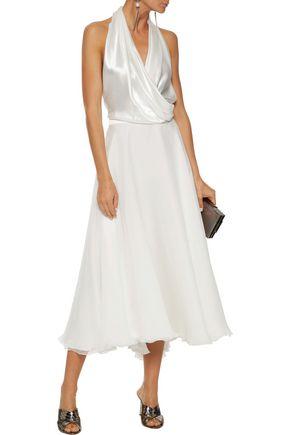 LANVIN Satin-paneled silk-chiffon halterneck midi dress
