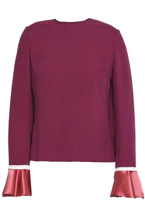 ROKSANDA Satin-trimmed silk-georgette blouse