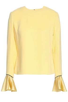 ROKSANDA Fluted satin-trimmed silk blouse