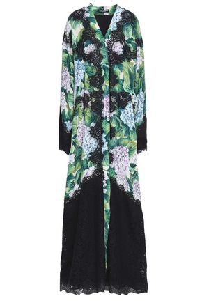 DOLCE & GABBANA Lace-paneled floral-print crepe de chine gown