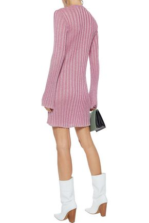 ELLERY Marina metallic ribbed-knit mini dress