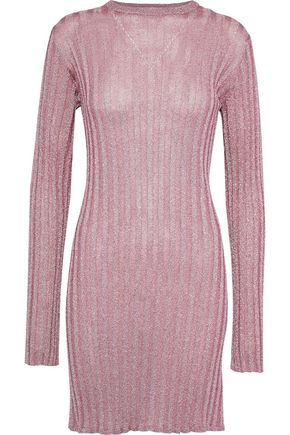 ELLERY Marina metallic ribbed-knit mini dress