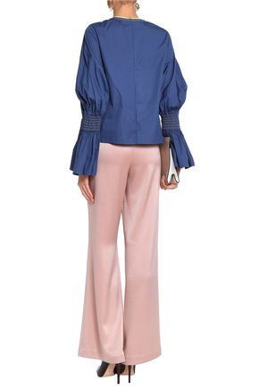 ROKSANDA Smocked cotton-poplin blouse