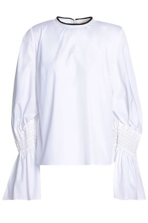 ROKSANDA Shirred cotton-poplin blouse