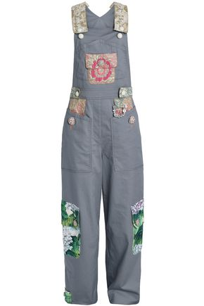 DOLCE & GABBANA Brocade and jacquard-trimmed cotton-blend twill overalls