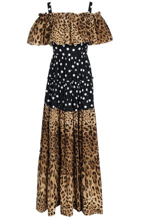 DOLCE & GABBANA Cold-shoulder polka-dot and leopard-print cotton-poplin maxi dress