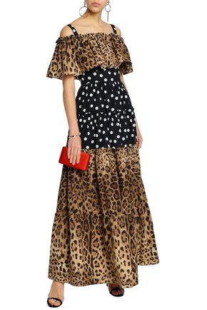 DOLCE   GABBANA Cold-shoulder polka-dot and leopard-print cotton-poplin  maxi dress 7af097857e