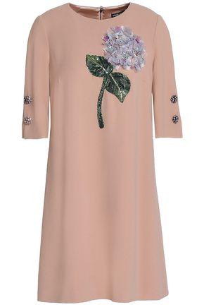 DOLCE & GABBANA Embellished appliquéd crepe mini dress