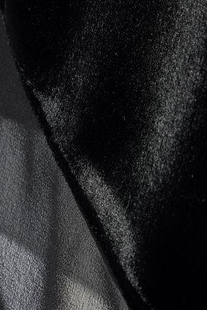 LANVIN Asymmetric velvet-paneled chiffon top