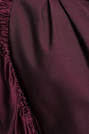 ROKSANDA Hammered satin-paneled silk and mohair-blend mini dress