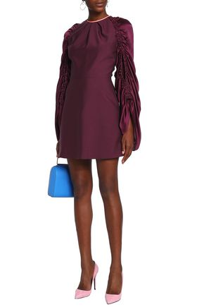 d74a7a9b6574 ROKSANDA Hammered satin-paneled silk and mohair-blend mini dress