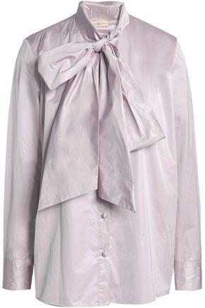 TORY BURCH Pussy-bow taffeta shirt
