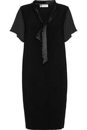 LANVIN Satin-trimmed chiffon and crepe dress