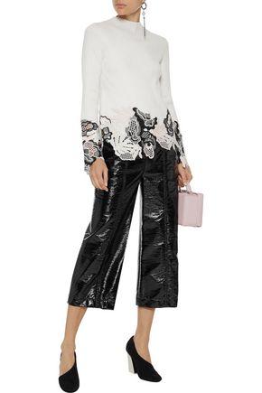 3.1 PHILLIP LIM Lace-paneled metallic ribbed wool-blend sweater