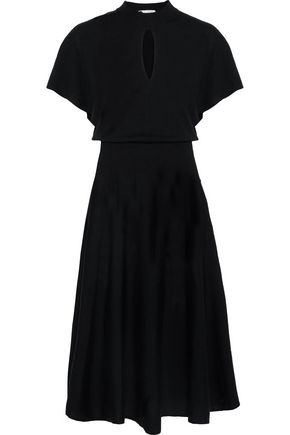 LANVIN Flared cutout stretch-wool dress