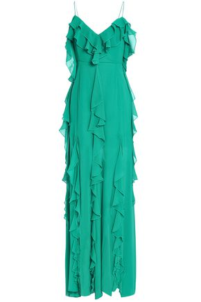 NICHOLAS Ruffled silk-georgette maxi dress