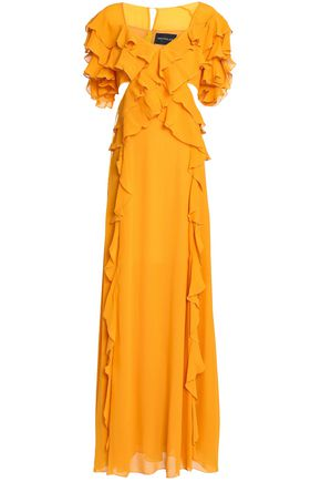 NICHOLAS Cutout ruffled silk-georgette maxi dress