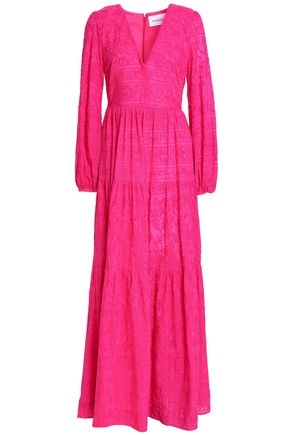 NICHOLAS Embroidered cotton and silk-blend maxi dress