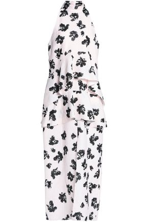 PROENZA SCHOULER Floral-jacquard peplum midi dress
