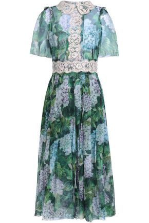 DOLCE & GABBANA Lace-trimmed floral-print silk-blend organza midi dress