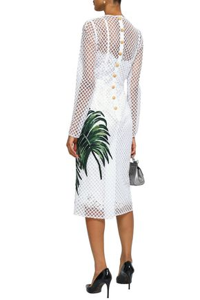 DOLCE & GABBANA Appliquéd net midi dress