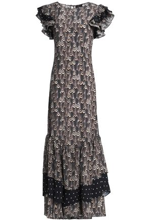DE LA VALI Ruffle-trimmed printed silk maxi dress