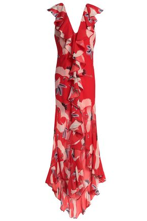 DE LA VALI Ruffled printed chiffon maxi dress