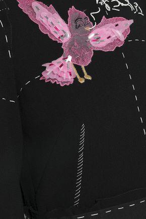 DOLCE & GABBANA Appliquéd wool-crepe midi dress