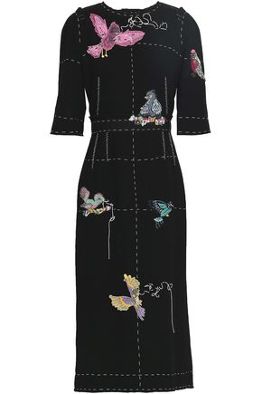 DOLCE & GABBANA Appliquéd wool-crepe midi dress