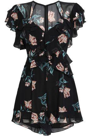 NICHOLAS Piper floral-print silk-chiffon playsuit