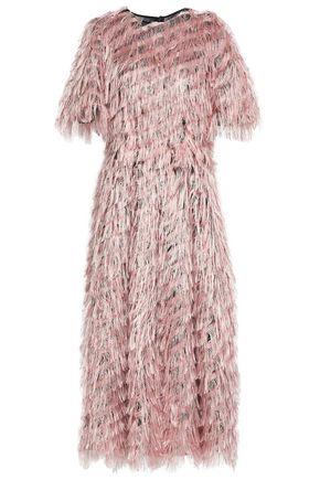 DOLCE & GABBANA Fringed fil coupé organza midi dress
