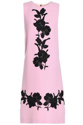DOLCE & GABBANA Floral-appliquéd wool-crepe dress