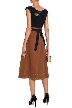 DOLCE & GABBANA Appliquéd two-tone wool-crepe midi dress