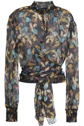 NICHOLAS Knotted floral-print silk-georgette blouse