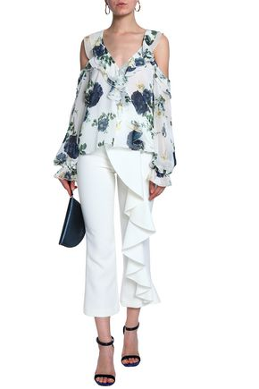 NICHOLAS Cold-shoulder ruffled floral-print silk-georgette blouse